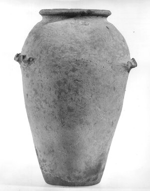 <em>Ovoid Shaped Vase with Wavy Handle</em>, ca. 4400-3100 B.C.E. Terracotta, pigment, 11 3/16 x 7 9/16 in. (28.4 x 19.2 cm). Brooklyn Museum, Charles Edwin Wilbour Fund, 09.889.599. Creative Commons-BY (Photo: Brooklyn Museum, CUR.09.889.599_NegA_print_bw.jpg)