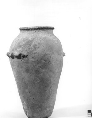 <em>Ovoid Vase with Wavy Handle</em>, ca. 4400-3100 B.C.E. Terracotta, pigment, 10 13/16 x 6 11/16 in. (27.5 x 17 cm). Brooklyn Museum, Charles Edwin Wilbour Fund, 09.889.604. Creative Commons-BY (Photo: Brooklyn Museum, CUR.09.889.604_NegA_print_bw.jpg)