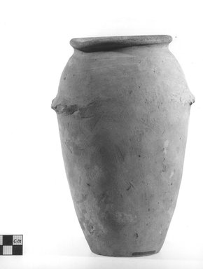 <em>Ovoid Vase with Wavy Handle</em>, ca. 4400-3100 B.C.E. Clay, slip, Height: 8 5/8 in. (21.9 cm). Brooklyn Museum, Charles Edwin Wilbour Fund, 09.889.605. Creative Commons-BY (Photo: Brooklyn Museum, CUR.09.889.605_NegA_print_bw.jpg)