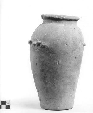 <em>Ovoid Vase with Wavy Handle</em>. Clay, slip, Height: 8 3/4 in. (22.2 cm). Brooklyn Museum, Charles Edwin Wilbour Fund, 09.889.606. Creative Commons-BY (Photo: Brooklyn Museum, CUR.09.889.606_NegA_print_bw.jpg)