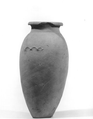 <em>Ovoid Shaped Vase with Wavy Handle</em>, ca. 4400-3100 B.C.E. Terracotta, pigment, 9 3/16 x 6 1/8 in. (23.4 x 15.5 cm). Brooklyn Museum, Charles Edwin Wilbour Fund, 09.889.610. Creative Commons-BY (Photo: Brooklyn Museum, CUR.09.889.610_NegA_print_bw.jpg)