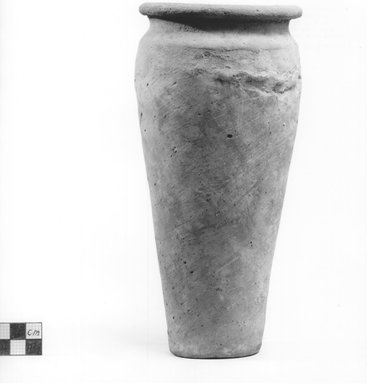 <em>Ovoid Shaped Vase with Wavy Handle</em>, ca. 4400-3100 B.C.E. Clay, slip, Height: 8 9/16 in. (21.7 cm). Brooklyn Museum, Charles Edwin Wilbour Fund, 09.889.616. Creative Commons-BY (Photo: Brooklyn Museum, CUR.09.889.616_NegA_print_bw.jpg)