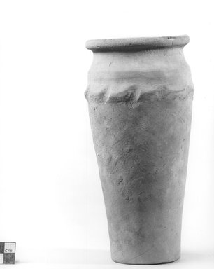 <em>Ovoid Shaped Vase with Wavy Handle</em>. Clay, slip, Height: 8 in. (20.3 cm). Brooklyn Museum, Charles Edwin Wilbour Fund, 09.889.617. Creative Commons-BY (Photo: Brooklyn Museum, CUR.09.889.617_NegA_print_bw.jpg)