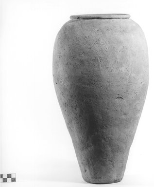 <em>Storage Pot</em>, ca. 4400-3100 B.C.E. Clay, Height: 15 1/16 in. (38.3 cm). Brooklyn Museum, Charles Edwin Wilbour Fund, 09.889.621. Creative Commons-BY (Photo: Brooklyn Museum, CUR.09.889.621_NegA_print_bw.jpg)