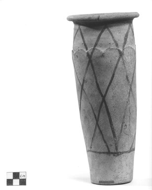 <em>Wavy Handled Cylindrical Vase with Painted Decoration</em>, ca. 3100-2675 B.C.E. Terracotta, pigment, 10 1/16 x Diam. 4 5/16 in. (25.6 x 10.9 cm). Brooklyn Museum, Charles Edwin Wilbour Fund, 09.889.660. Creative Commons-BY (Photo: Brooklyn Museum, CUR.09.889.660_NegB_print_bw.jpg)
