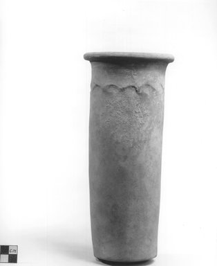 <em>Cylindrical Vase</em>, ca. 4400-3100 B.C.E. Terracotta, Height: 9 5/8 in. (24.5 cm). Brooklyn Museum, Charles Edwin Wilbour Fund, 09.889.672. Creative Commons-BY (Photo: Brooklyn Museum, CUR.09.889.672_NegA_print_bw.jpg)