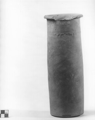 <em>Cylindrical Vase</em>, ca. 4400-3100 B.C.E. Terracotta, pigment, Height: 10 9/16 in. (26.9 cm). Brooklyn Museum, Charles Edwin Wilbour Fund, 09.889.673. Creative Commons-BY (Photo: Brooklyn Museum, CUR.09.889.673_NegA_print_bw.jpg)