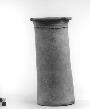 <em>Cylindrical Vase</em>, ca. 4400-3100 B.C.E. Terracotta, Height: 8 3/8 in. (21.2 cm). Brooklyn Museum, Charles Edwin Wilbour Fund, 09.889.677. Creative Commons-BY (Photo: Brooklyn Museum, CUR.09.889.677_NegA_print_bw.jpg)