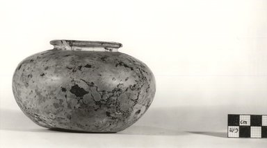 <em>Globular Urn</em>, ca. 3100-2625 B.C.E. Breccia, 3 1/8 x Diam. 5 1/16 in. (8 x 12.8 cm). Brooklyn Museum, Charles Edwin Wilbour Fund, 09.889.6. Creative Commons-BY (Photo: Brooklyn Museum, CUR.09.889.6_NegA_print_bw.jpg)