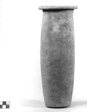 <em>Cylindrical Vase</em>, ca. 3100--2675 B.C.E. Clay, 11 3/8 x Diam. 4 1/2 in. (28.9 x 11.4 cm). Brooklyn Museum, Charles Edwin Wilbour Fund, 09.889.710. Creative Commons-BY (Photo: Brooklyn Museum, CUR.09.889.710_NegA_print_bw.jpg)