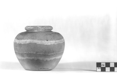 <em>Globular Vase with Short Narrow Neck</em>, ca. 3100-2675 B.C.E. Egyptian alabaster (calcite), 3 7/8 x Diam. 4 9/16 in. (9.9 x 11.6 cm). Brooklyn Museum, Charles Edwin Wilbour Fund, 09.889.73. Creative Commons-BY (Photo: Brooklyn Museum, CUR.09.889.73_NegA_print_bw.jpg)