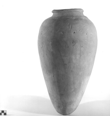 <em>Storage Pot</em>, ca. 3100-2675 B.C.E. Terracotta, 17 5/16 x greatest diam. 10 in. (44 x 25.4 cm). Brooklyn Museum, Charles Edwin Wilbour Fund, 09.889.742. Creative Commons-BY (Photo: Brooklyn Museum, CUR.09.889.742_NegA_print_bw.jpg)