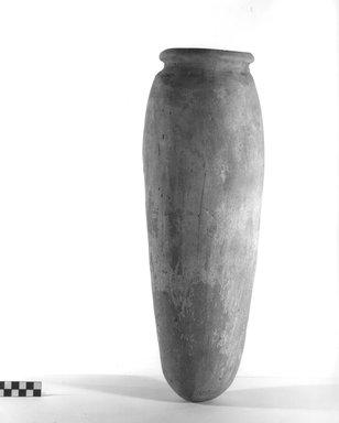 <em>Unglazed Storage Pot</em>, ca. 4400-3100 B.C.E. Terracotta, 18 9/16 x 5 7/8 in. (47.2 x 15 cm). Brooklyn Museum, Charles Edwin Wilbour Fund, 09.889.746. Creative Commons-BY (Photo: Brooklyn Museum, CUR.09.889.746_NegA_print_bw.jpg)