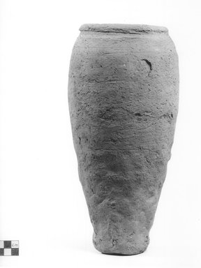 <em>Storage Pot</em>. Clay, Height: 11 15/16 in. (30.3 cm). Brooklyn Museum, Charles Edwin Wilbour Fund, 09.889.757. Creative Commons-BY (Photo: Brooklyn Museum, CUR.09.889.757_NegA_print_bw.jpg)