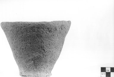 <em>Inverted Conical Vessel</em>. Clay, Height: 4 7/16 in. (11.3 cm). Brooklyn Museum, Charles Edwin Wilbour Fund, 09.889.771. Creative Commons-BY (Photo: Brooklyn Museum, CUR.09.889.771_NegA_print_bw.jpg)