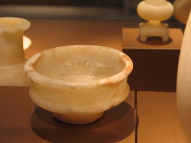 <em>Tazza</em>, ca. 1479-1390 B.C.E. Egyptian alabaster, 2 3/16 x 4 3/8 in. (5.5 x 11.1 cm). Brooklyn Museum, Charles Edwin Wilbour Fund, 09.889.82. Creative Commons-BY (Photo: Brooklyn Museum, CUR.09.889.82_erg456.jpg)