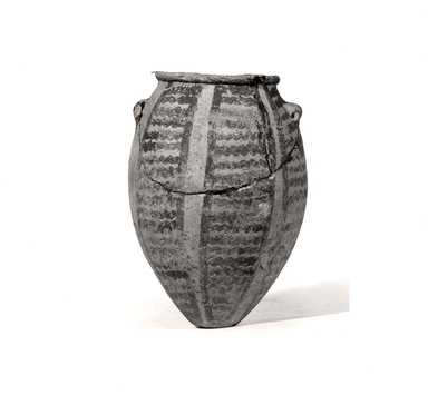 <em>Painted Pot</em>, ca. 3500-3300 B.C.E. Terracotta, pigment, height: 4 1/2 in. (11.5 cm). Brooklyn Museum, Charles Edwin Wilbour Fund, 09.889.855. Creative Commons-BY (Photo: Brooklyn Museum, CUR.09.889.855_negA_bw.jpg)