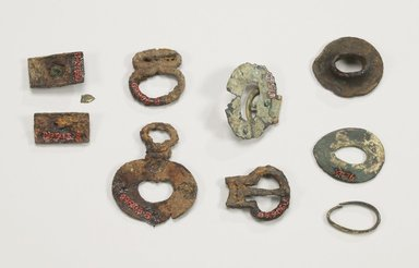<em>Sword Guard</em>, 6th century. Iron, 2 5/8 x 2 1/4 x 13/16 in. (6.6 x 5.7 x 2 cm). Brooklyn Museum, Brooklyn Museum Collection, X473.3. Creative Commons-BY (Photo: , CUR.09.913.1-.3_09.912_09.906.1-.2_X473.3_X476_X477_back_Collins_photo_NRICH.jpg)