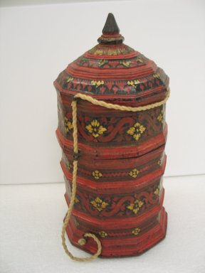 Thai. <em>Pagoda Shaped Container with Lid and String</em>, 19th century. Lacquer, 14 3/4 x 8 1/2 in. (37.5 x 21.6 cm). Brooklyn Museum, Museum Collection Fund, 09.939. Creative Commons-BY (Photo: Brooklyn Museum, CUR.09.939.jpg)