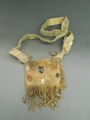 Ka'waika (Laguna Pueblo). <em>Shepherd's Bag</em>, late 19th-early 20th century. Hide, stone, sheepskin, wool, bag: 5 x 6 1/4 in. (12.7 x 15.9 cm). Brooklyn Museum, Purchased with funds given by Herman Stutzer, 10.229.2. Creative Commons-BY (Photo: Brooklyn Museum, CUR.10.229.2_view1.jpg)