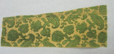 <em>Piece of Fabric</em>, 16th century. Silk, silk velvet, silver gilt thread, 11 x 4 1/8 in. (28.0 x 10.4 cm). Brooklyn Museum, Purchased by Special Subscription, 11.108 (Photo: Brooklyn Museum, CUR.11.108.jpg)