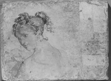 Roman. <em>Part of a Fresco</em>, 5th century C.E. Clay, paint, 11 9/16 x 15 9/16 in. (29.3 x 39.5 cm). Brooklyn Museum, Ella C. Woodward Memorial Fund, 11.30 (Photo: , CUR.11.30_NegB_print_bw.jpg)