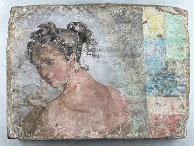 <em>Part of a Fresco</em>, early 19th century C.E. Clay, paint, 12 3/8 × 1 3/4 × 15 15/16 in. (31.5 × 4.5 × 40.5 cm). Brooklyn Museum, Ella C. Woodward Memorial Fund, 11.30 (Photo: Brooklyn Museum, CUR.11.30_overall.jpg)
