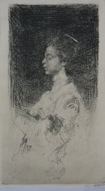 Robert Frederick Blum (American, 1857-1903). <em>Profile of Japanese Girl</em>, 1879. Etching on cream-colored Japan paper, sheet: 9 5/8 x 7 1/8 in. (24.4 x 18.1 cm). Brooklyn Museum, Gift of the Cincinnati Museum Association, 11.578 (Photo: Brooklyn Museum, CUR.11.578.jpg)