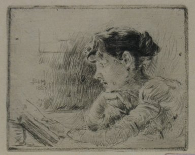 Robert Frederick Blum (American, 1857-1903). <em>Girl Reading</em>, 1883. Drypoint on cream-colored Japan paper, sheet: 10 3/8 x 13 7/8 in. (26.4 x 35.2 cm). Brooklyn Museum, Gift of the Cincinnati Museum Association, 11.580 (Photo: Brooklyn Museum, CUR.11.580.jpg)