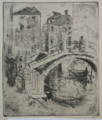 Robert Frederick Blum (American, 1857-1903). <em>Venetian Canal and Bridges</em>, 1886. Etching on cream-colored wove paper, sheet: 12 3/4 x 9 1/2 in. (32.4 x 24.1 cm). Brooklyn Museum, Gift of the Cincinnati Museum Association, 11.582 (Photo: Brooklyn Museum, CUR.11.582.jpg)