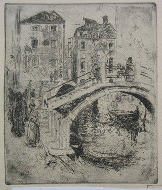 Robert Frederick Blum (American, 1857-1903). <em>Venetian Canal and Bridges</em>, 1886. Etching on cream-colored wove paper, sheet: 12 3/4 x 9 1/2 in. (32.4 x 24.1 cm). Brooklyn Museum, Gift of the Cincinnati Museum Association, 11.582 (Photo: Brooklyn Museum, CUR.11.582.jpg)
