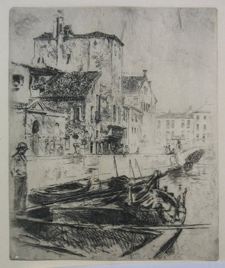Robert Frederick Blum (American, 1857-1903). <em>Venetian Canal and Boats</em>, n.d. Etching on cream-colored Japan paper, sheet: 14 1/2 x 9 9/16 in. (36.8 x 24.3 cm). Brooklyn Museum, Gift of the Cincinnati Museum Association, 11.583 (Photo: Brooklyn Museum, CUR.11.583.jpg)