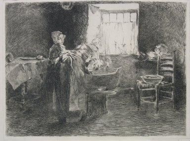 Robert Frederick Blum (American, 1857-1903). <em>Monday Morning, Holland</em>, ca. 1885. Etching on cream-colored Japan paper, sheet: 10 3/8 x 15 5/16 in. (26.4 x 38.9 cm). Brooklyn Museum, Gift of the Cincinnati Museum Association, 11.584 (Photo: Brooklyn Museum, CUR.11.584.jpg)