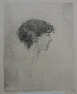 Robert Frederick Blum (American, 1857-1903). <em>Profile Turned to the Right</em>, n.d. Etching on cream colored wove paper, sheet: 19 x 13 in. (48.3 x 33 cm). Brooklyn Museum, Gift of the Cincinnati Museum Association, 11.586 (Photo: Brooklyn Museum, CUR.11.586.jpg)