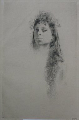 Robert Frederick Blum (American, 1857-1903). <em>Head of a Girl with Long Hair</em>, n.d. Etching on cream-colored wove paper, sheet: 18 13/16 x 12 9/16 in. (47.8 x 31.9 cm). Brooklyn Museum, Gift of the Cincinnati Museum Association, 11.587 (Photo: Brooklyn Museum, CUR.11.587.jpg)