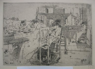Robert Frederick Blum (American, 1857-1903). <em>The Lace Makers</em>, 1885. Etching on cream colored wove paper, sheet: 12 15/16 x 18 7/16 in. (32.9 x 46.8 cm). Brooklyn Museum, Gift of the Cincinnati Museum Association, 11.589 (Photo: Brooklyn Museum, CUR.11.589.jpg)