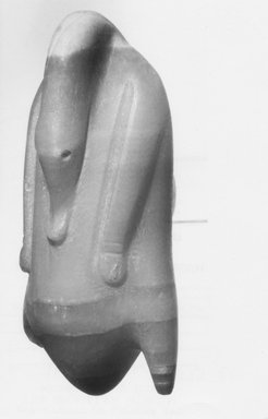<em>Model Food Offering of Trussed Duck</em>, ca. 1539-1075 B.C.E. Egyptian alabaster, 2 1/16 x 4 7/16 in. (5.3 x 11.3 cm). Brooklyn Museum, Museum Collection Fund, 11.666. Creative Commons-BY (Photo: Brooklyn Museum, CUR.11.666_NegL575_3A_print_bw.jpg)