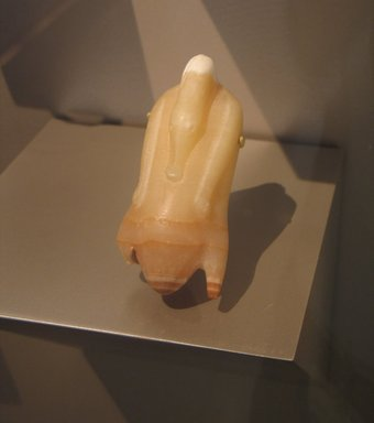 <em>Model Food Offering of Trussed Duck</em>, ca. 1539-1075 B.C.E. Egyptian alabaster, 2 1/16 x 4 7/16 in. (5.3 x 11.3 cm). Brooklyn Museum, Museum Collection Fund, 11.666. Creative Commons-BY (Photo: Brooklyn Museum, CUR.11.666_erg456.jpg)