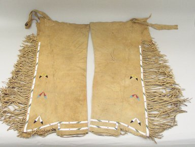 Osage. <em>Leggings</em>, early 20th century. Hide, beads, 29 3/4 x 15 3/8 in.  (75.5 x 39.0 cm). Brooklyn Museum, Museum Expedition 1911, Museum Collection Fund, 11.694.9005. Creative Commons-BY (Photo: Brooklyn Museum, CUR.11.694.9005_view1.jpg)