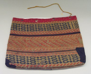 Kaw (Kanza). <em>Woven Bag with calico trim</em>, late 19th-early 20th century. Wool cloth, cotton, yarn, 16 15/16 x 22 1/4 x 13/16in. (43 x 56.5 x 2cm). Brooklyn Museum, Museum Expedition 1911, Museum Collection Fund, 11.694.9041. Creative Commons-BY (Photo: Brooklyn Museum, CUR.11.694.9041_view1.jpg)