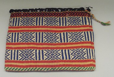 Osage. <em>Twined Bag</em>, late 19th-early 20th century. Wool, cotton, plant fiber, 22 1/4 x 17 in.  (56.5 x 43.2 cm). Brooklyn Museum, Museum Expedition 1911, Museum Collection Fund, 11.694.9062. Creative Commons-BY (Photo: Brooklyn Museum, CUR.11.694.9062_view1.jpg)