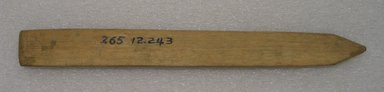 Ainu. <em>Long Straight Prayer Stick</em>. Wood, 1 1/8 x 10 7/16 in. (2.8 x 26.5 cm). Brooklyn Museum, Gift of Herman Stutzer, 12.243. Creative Commons-BY (Photo: Brooklyn Museum, CUR.12.243_bottom.jpg)