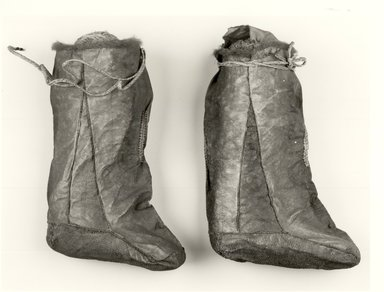 Ainu. <em>Pair of Boots</em>. Salmon skin Brooklyn Museum, Gift of Herman Stutzer, 12.652a-b. Creative Commons-BY (Photo: Brooklyn Museum, CUR.12.652a-b_bw.jpg)
