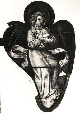 <em>Panel depicting Angel</em>, 16th century. Stained glass, 27 x 18in. (68.6 x 45.7cm). Brooklyn Museum, Henry L. Batterman Fund, 13.27. Creative Commons-BY (Photo: Brooklyn Museum, CUR.13.27.jpg)