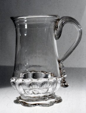 <em>Molded Jug</em>, ca. 1700-1800. Glass, 4 5/8 x 2 5/8 in. (11.7 x 6.7 cm). Brooklyn Museum, Purchased by Special Subscription and Museum Collection Fund, 13.611. Creative Commons-BY (Photo: Brooklyn Museum, CUR.13.611.jpg)