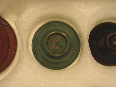 Hellenistic. <em>Patella</em>. Glass, 1 1/2 x 2 3/4 in. (3.8 x 7 cm). Brooklyn Museum, Gift of Robert B. Woodward, 13.7. Creative Commons-BY (Photo: Brooklyn Museum, CUR.13.7_bottom.jpg)