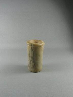 <em>Ointment Jar</em>. Egyptian alabaster (calcite), 4 1/16 x 2 1/2 in. (10.3 x 6.3 cm). Brooklyn Museum, Brooklyn Museum Collection, 14.31. Creative Commons-BY (Photo: Brooklyn Museum, CUR.14.31_view1.jpg)