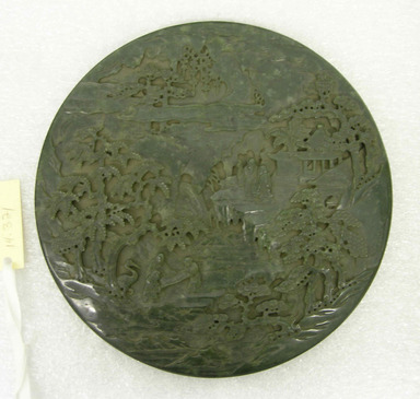 <em>Circular Screen Disc</em>, 18th-19th century. Nephrite, 9 3/8 × 9 3/8 × 3/8 in. (23.8 × 23.8 × 1 cm). Brooklyn Museum, Bequest of Robert B. Woodward, 14.321. Creative Commons-BY (Photo: Brooklyn Museum, CUR.14.321_view01.jpg)