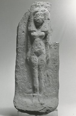 <em>Woman on a Bed</em>, ca. 1539–1292 B.C.E. Terracotta, 8 7/16 x 3 5/16 x 2 15/16 in. (21.4 x 8.4 x 7.4 cm). Brooklyn Museum, Gift of the Egypt Exploration Fund, 14.607. Creative Commons-BY (Photo: Brooklyn Museum, CUR.14.607_NegA_print_bw.jpg)