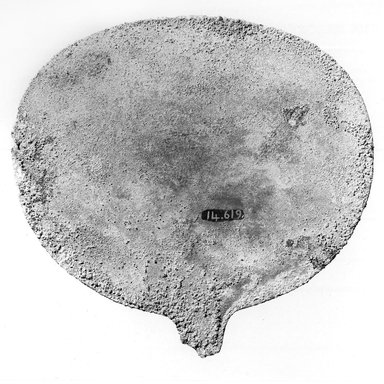 <em>Mirror Disk</em>, ca. 1539–1292 B.C.E. Bronze, linen, 4 3/4 × 4 13/16 in. (12.1 × 12.3 cm). Brooklyn Museum, Gift of the Egypt Exploration Fund, 14.619. Creative Commons-BY (Photo: Brooklyn Museum, CUR.14.619_NegB_print_bw.jpg)